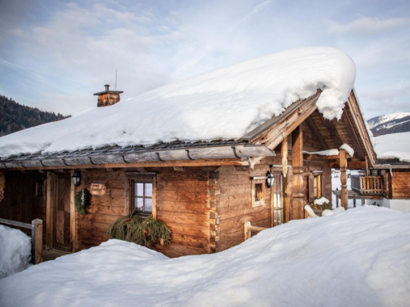 chalet snow winter ski