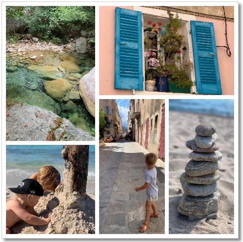 collage Corsica zee strand dorp